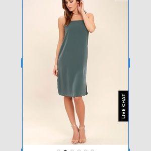 Lulu's In action slate blue satin slip dress